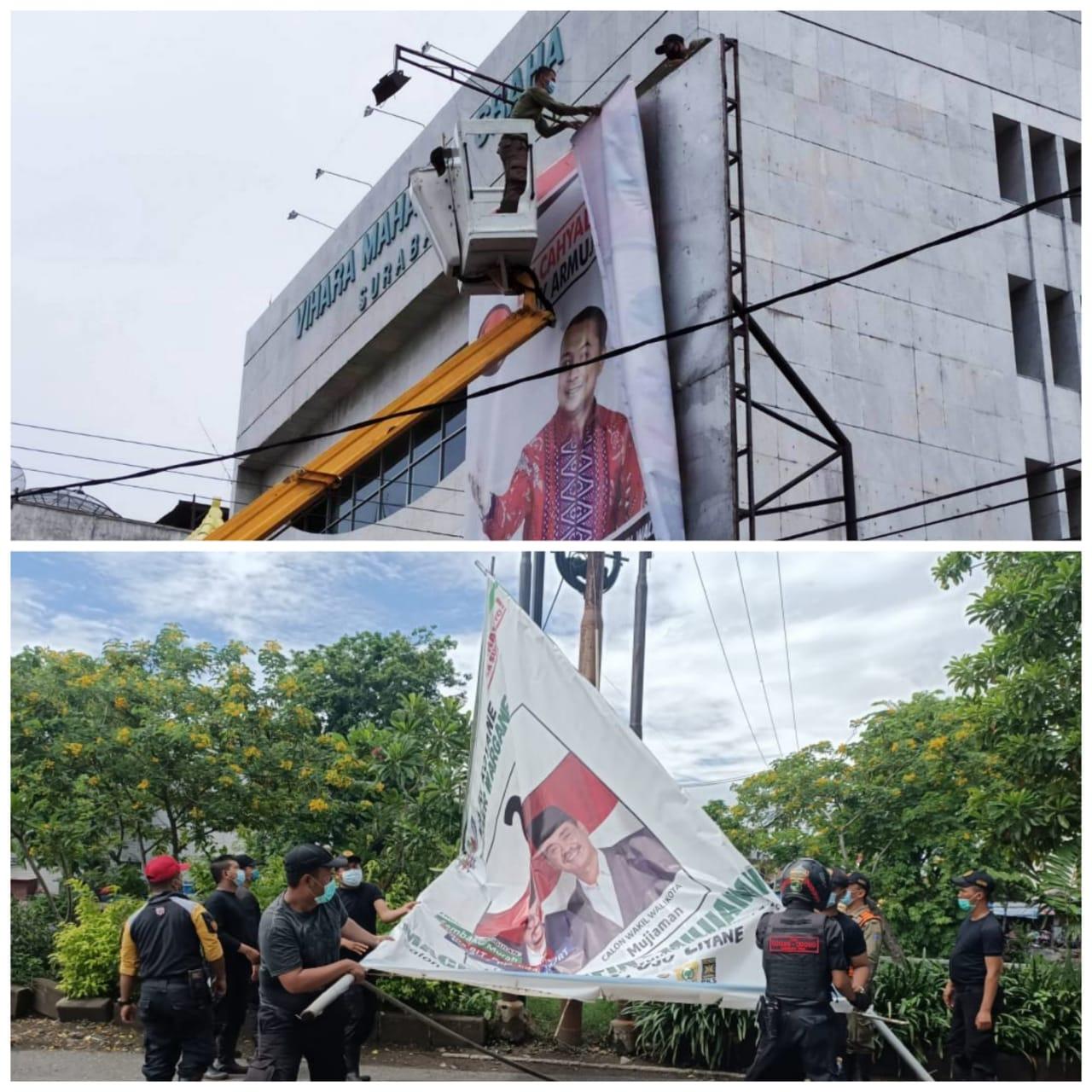 Satpol PP kota Surabaya bersihkan Puluhan ribu APK, Menjelang hari tenang Pilkada Surabaya